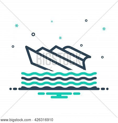 Mix Icon For Shipwreck Capsized Stormy Waves Crashing  Transport Rafting