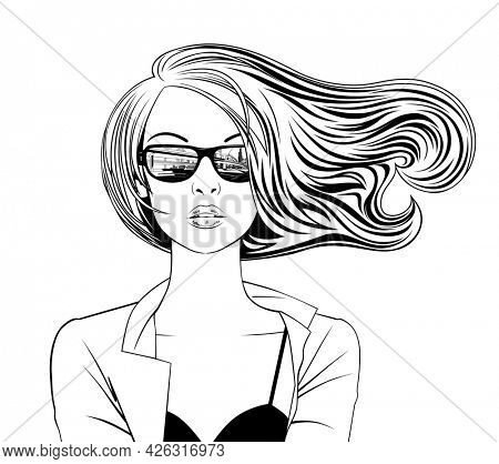 Portrait of a blonde girl in glasses with city reflection and with loose flowing hair. Linear black and white drawing