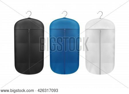 Vector Set Of Black, Blue And White Storage Dust Proof Covers Close Up Front View Isolated On Backgr
