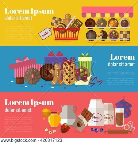 Buying Cookies, Biscuits Gift And Baking Cookies Banners. Sweet Design, Chocolate And Snack Product.