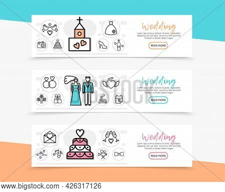 Wedding Horizontal Banners With Couple Church Pigeons Dress Shoe Cake Rings Fireworks Car Date Camer