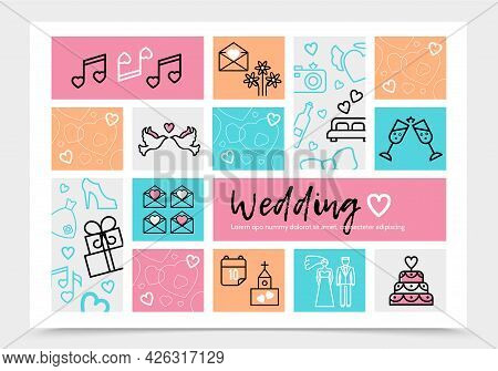 Wedding Infographic Template With Pigeons Bride Groom Music Notes Letter Fireworks Glasses Car Bed C