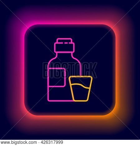 Glowing Neon Line Bottle Of Medicine Syrup And Dose Measuring Cup Solid Icon Isolated On Black Backg