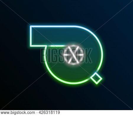 Glowing Neon Line Automotive Turbocharger Icon Isolated On Black Background. Vehicle Performance Tur