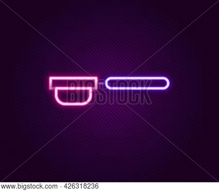 Glowing Neon Line Coffee Filter Holder Icon Isolated On Black Background. Colorful Outline Concept.