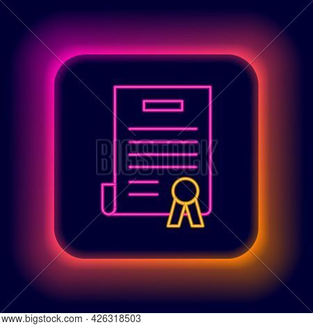 Glowing Neon Line Declaration Of Independence Icon Isolated On Black Background. Colorful Outline Co