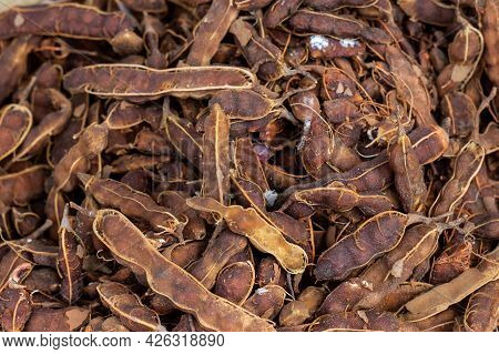 Closeup Of Organic Ripe Tamarind In A Vegetable Market For Selling