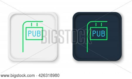 Line Street Signboard With Inscription Pub Icon Isolated On White Background. Suitable For Advertise