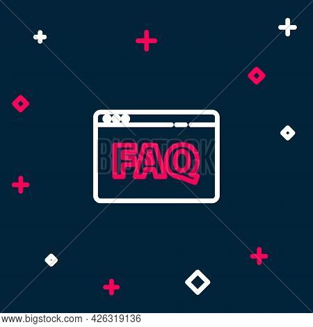 Line Browser Faq Icon Isolated On Blue Background. Internet Communication Protocol. Colorful Outline