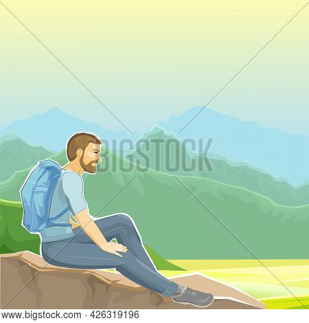 A Man Sits On A Cliff. Stone Rock. The Climber Is Resting At The Height. A Hiker With A Backpack Adm