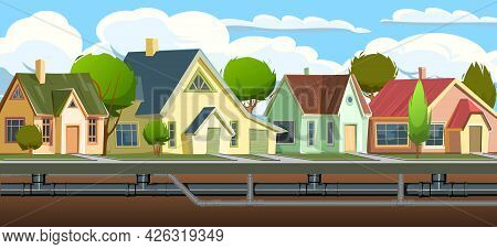 Pipeline For Various Purposes. Underground Part Of System. Cartoon Town Street. Illustration Vector