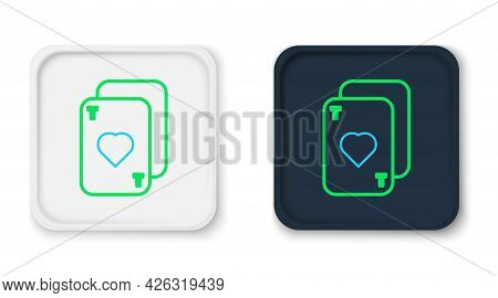 Line Playing Cards Icon Isolated On White Background. Casino Gambling. Colorful Outline Concept. Vec