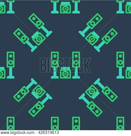 Line Home Stereo With Two Speaker S Icon Isolated Seamless Pattern On Blue Background. Music System.