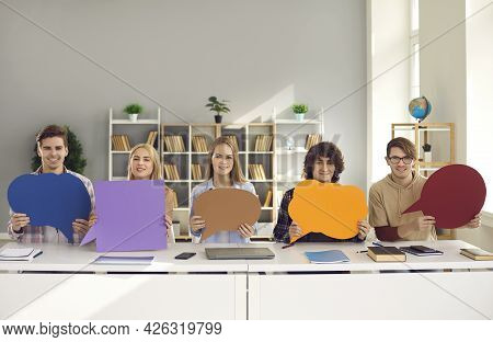 Teenager Student Classmates Group Holding Empty Blank Paper Chat Bubbles