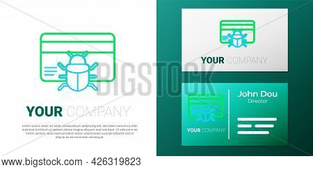 Line System Bug In Credit Card Icon Isolated On White Background. Code Bug Concept. Bug In The Syste