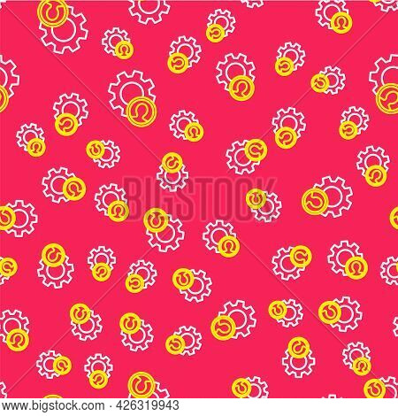 Line Head Hunting Icon Isolated Seamless Pattern On Red Background. Business Target Or Employment Si