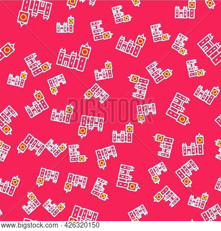 Line Big Ben Tower Icon Isolated Seamless Pattern On Red Background. Symbol Of London And United Kin