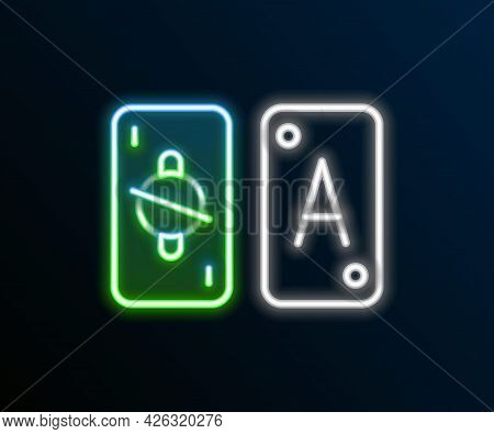Glowing Neon Line Tarot Cards Icon Isolated On Black Background. Magic Occult Set Of Tarot Cards. Co