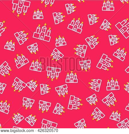 Line Church Building Icon Isolated Seamless Pattern On Red Background. Christian Church. Religion Of