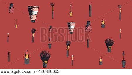 Composition of makeup and beauty accessories, on dark red background. fashion, beauty and accessories background pattern concept digital animation.