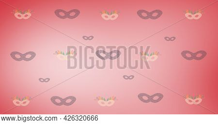 Composition of masquerade masks repeated in rows, on graduated red background. fashion, beauty and accessories background pattern concept digital animation.
