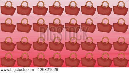 Composition of brown handbags repeated in rows, on graduated red to pink background. fashion, beauty and accessories background pattern concept digital animation.
