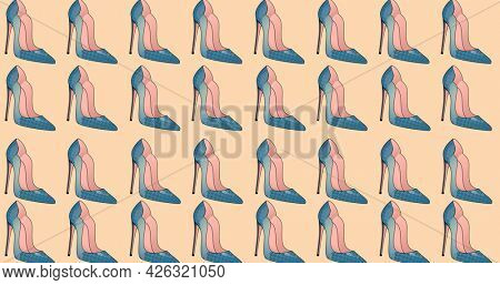 Composition of blue stiletto shoes repeated in rows, on pale pink background. fashion, beauty and accessories background pattern concept digital animation.