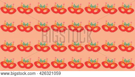 Composition of masquerade masks repeated in rows, on pink background. fashion, beauty and accessories background pattern concept digital animation.