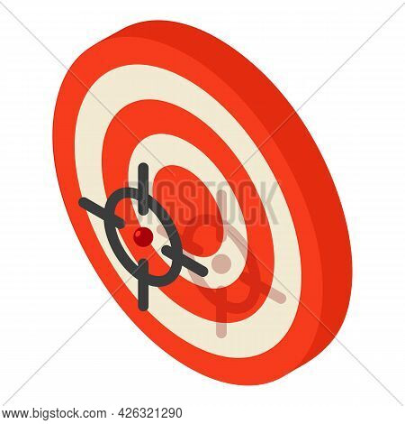 Target Icon Isometric Vector. Red Dartboard Icon. Targeting Concept, Goal, Objective