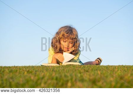 Smart Child Reading Book, Laying On Grass In Field On Sky And Grass Field. Portrait Of Clever Kids.