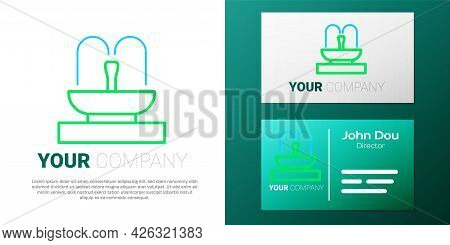 Line Fountain Icon Isolated On White Background. Colorful Outline Concept. Vector