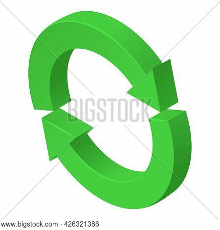 Refresh Icon Isometric Vector. Green Circular Two Arrow. Reload Cycle Sign