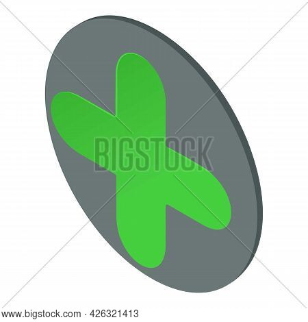 Green Plus Icon Isometric Vector. Rounded Icon. Iconic Symbol Inside Circle