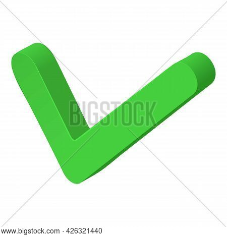 Green Check Mark Icon Isometric Vector. Tick Symbol. Approval, Acceptance, Concept Choose