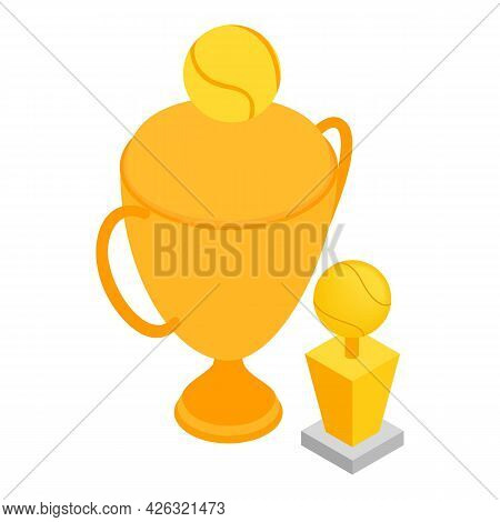Sport Trophy Icon Isometric Vector. Gold Victory Cup Icon. Winning Concept