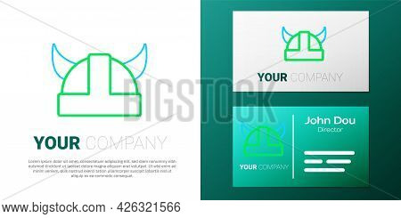 Line Viking In Horned Helmet Icon Isolated On White Background. Colorful Outline Concept. Vector