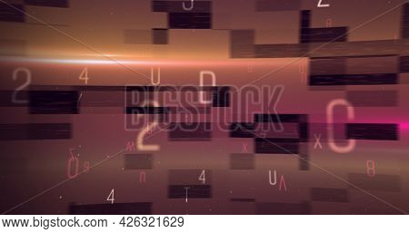 Digital image of alphabets and numbers moving and changing against purple background. numerical and alphabetical information flow concept