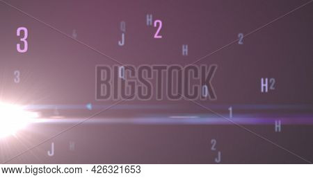 Digital image of random alphabets and numbers moving and changing against purple background. numerical and alphabetical information flow concept