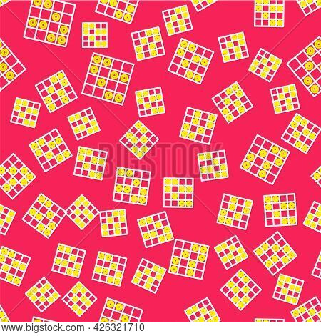 Line Board Game Of Checkers Icon Isolated Seamless Pattern On Red Background. Ancient Intellectual B