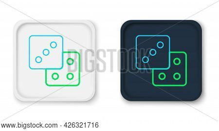Line Game Dice Icon Isolated On White Background. Casino Gambling. Colorful Outline Concept. Vector