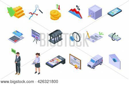 Bank Reserves Icons Set Isometric Vector. Check Gold Money. Moneybox Accounting