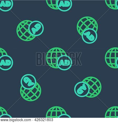Line Advertising Icon Isolated Seamless Pattern On Blue Background. Concept Of Marketing And Promoti