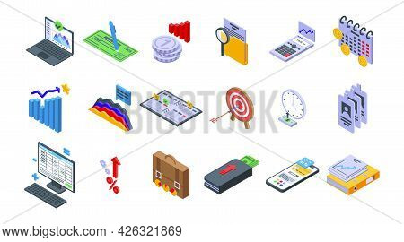 Financial Planning Icons Set Isometric Vector. Manage Risk Plan. Account Business Stability