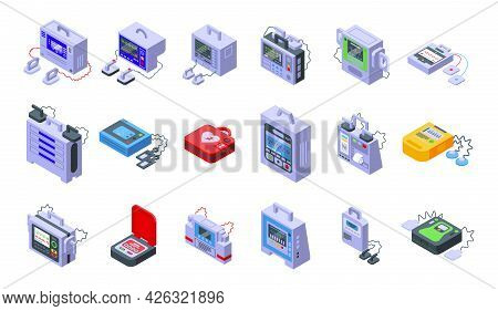 Defibrillator Icons Set Isometric Vector. Aid Ambulance. External Automated Defibrillator