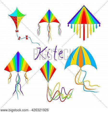 Festival Flying Set Of Bright Kites. Flat Style Cartoon Kids Kites