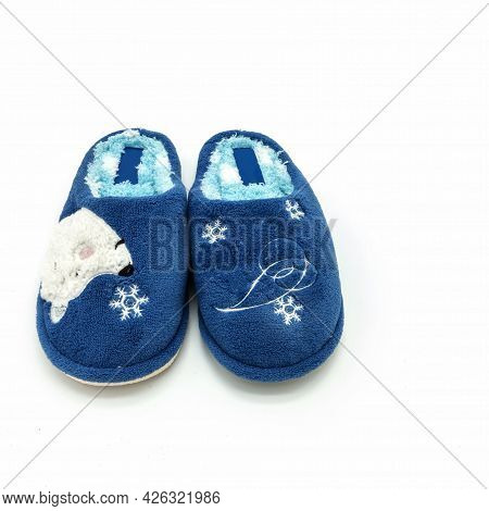 Soft Warm Women's Indoor Slippers Made Of Blue Plush. Decorated With Snowflakes, Teddy Bear Muzzle.
