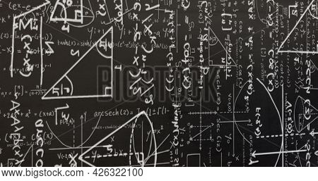 Image of white mathematical formulae and geometric drawings on blackboard. education science research knowledge concept digitally generated image.