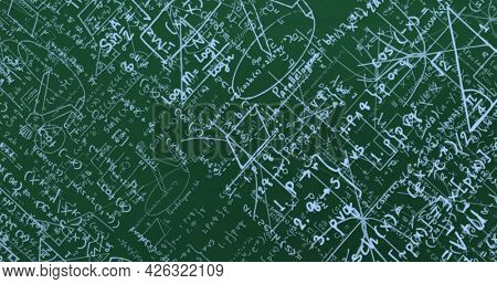 Image of blue mathematical formulae and geometric drawings on green. education science research knowledge concept digitally generated image.