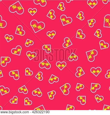 Line Heart Rate Icon Isolated Seamless Pattern On Red Background. Heartbeat Sign. Heart Pulse Icon.