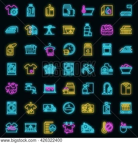 Dry Cleaning Icons Set. Outline Set Of Dry Cleaning Vector Icons Neon Color On Black